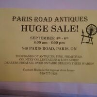 Paris Road Antiques Huge Sale, Sept. 4 to 6, 8 am to 6 pm daily