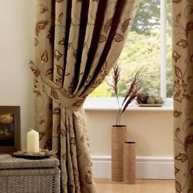 Terracotta set of large heavy curtains and acessories