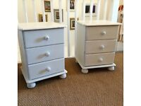 Pair of upcycled bedside tables - shabby chic style - Annie Sloan Paint