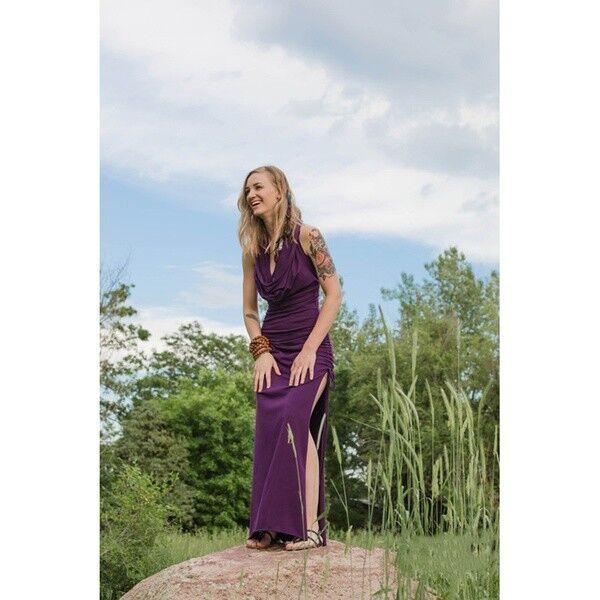 sexy vestito viola Abito lungo donna con cappucciofatafolletto fiabaspacco