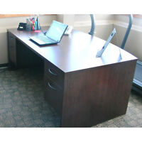Mahogany Bow Front Double Ped Desk 4 Drawers, 72 x 42 in.