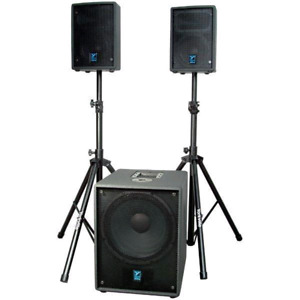 Complete Yorkville Powered PA - 1000 watts with stands and sub