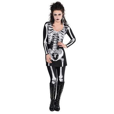 Womens Bare Bones Skeleton Halloween Costume Fancy Dress Outfit Adult Size - Nude Halloween Women