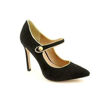 Pour La Victoire Case BLACK kid suede gold strap piping Mary Jane heel NEW (La La Suede Heels)