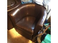 Brown faux leather bucket chairs -pair