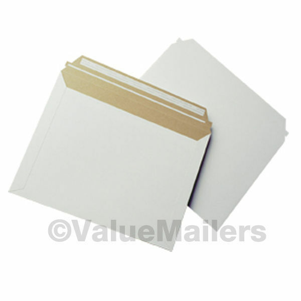"100 - 12.5"" x 9.5"" Self Seal White Photo Stay Flats Cardboard Envelope Mailers"