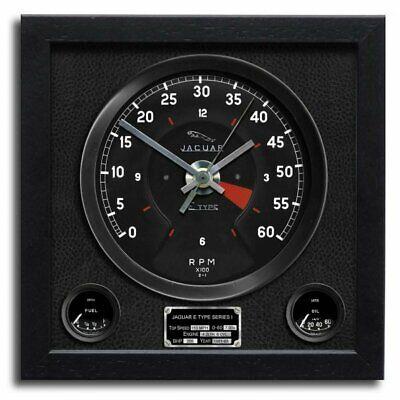 Chronos Rev Counter Art Print Wall Clock Jaguar E Type Black Vinyl