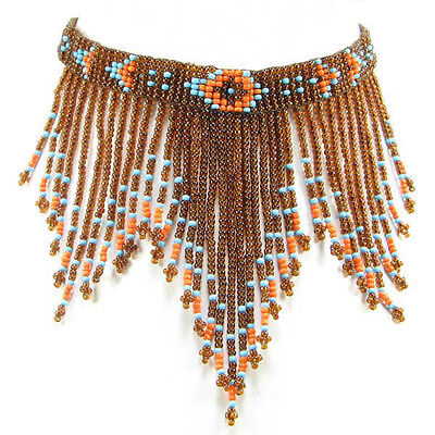 HANDMADE BEADED BROWN NATIVE STYLE INSPIRED NECKLACE EARRING SET N14/7
