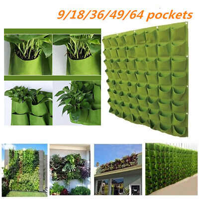 9/18/36/49/64 Pockets Wall Hanging Planting Bag Vertical Garden Grow Pots -