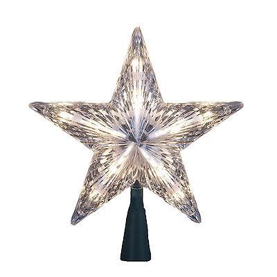 "KURT ADLER 7"" CLEAR STAR TREETOP 10-LIGHT SET TREE TOPPER CHRISTMAS DECORATION"