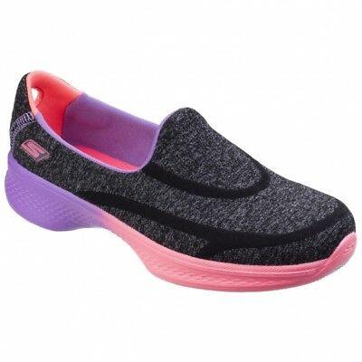Skechers Go Walk 4 Awesome Ombres Kids Childrens Girls Trainers Black/Multi