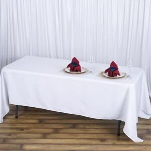 """Tablecloths visa white 120""""  and 72x120"""" rect."""