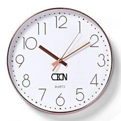 CICN Wall Clock 12'' Electroplating Silent Non Ticking Quality Quartz Battery