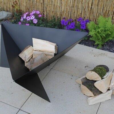 Made O' Metal Large Modern Art Steel Garden Patio Triangle FirePit Log Burner