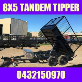 8X5 TANDEM HYDRAULIC TIPPER TRAILER W CAGE HEAVY DUTY BOX TRAILER