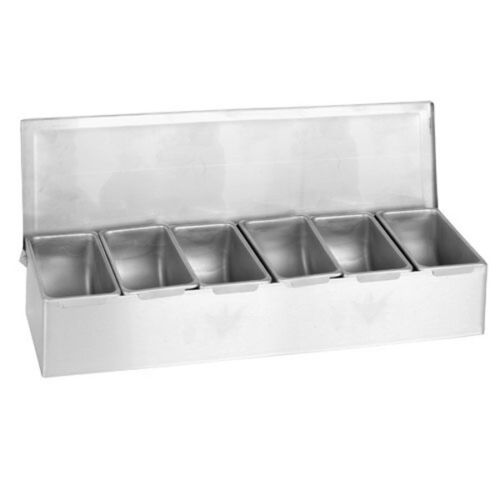 6 Compartment Stainless Steel Condiment