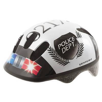 VENTURA Kinder Fahrradhelm POLICE weiß-schwarz Gr. S (52-56cm) NEU/OVP