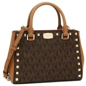 819efc89bdf8bb Michael Kors Kellen Studded Leather XS Satchel 35t7gk9s0b Brown for ...
