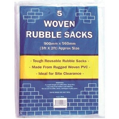 Pack Of 5 Woven Rubble Sacks 3 FT x  2 FT Tough Reusable Rubble Sacks