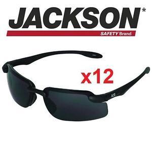 12 NEW JACKSON SAFETY GLASSES V40 ACE SAFETY GLASSES - SMOKE LENSES - PACK OF 12 82433198