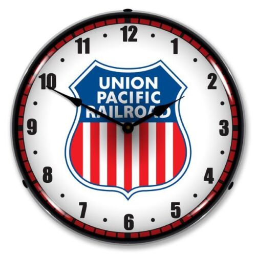 NEW UNION PACIFIC RAILROAD RETRO TRAIN BACKLIT LIGHTED CLOCK - FREE SHIPPING*