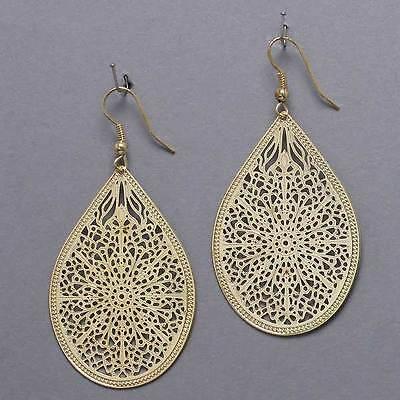 Filigree Hanging Earrings (Earrings Metal Teardrop CutOut Filigree GOLD 2 1/4