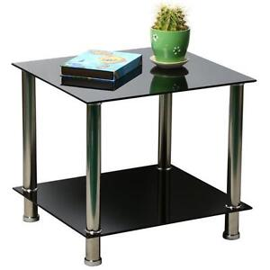 Black Glass Stainless Steel Small Display Stand Coffee Telephone Side End Table