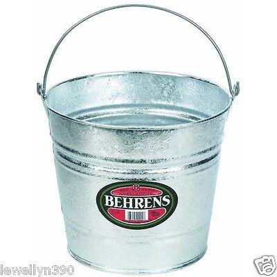 BEHRENS GALVANIZED METAL 12 QT WATER BUCKET PAIL TUB 12 Quart](Galvanized Pails)