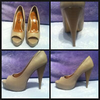 NEW Beige Peep-Toe Heels (Size 7)