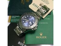 Full stainless blue face ETA yacht master one boxed waterproof rolex boxed