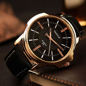 Men's Classic Luxury Leather Watch in Rose-Gold with Gift Box
