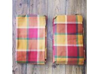 Pair of brand new (unused) Terracotta Check Pencil Pleat Curtains purchased from Next