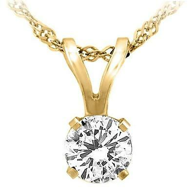 Real diamond necklaceebay 1 1 ct real 14k solid yellow gold round solitaire pendant necklace rope chain mozeypictures Gallery