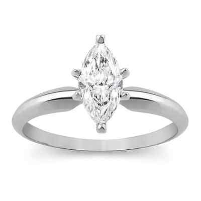 1 Ct Marquise Cut Solitaire Engagement Wedding Promise Ring Solid 18K White...