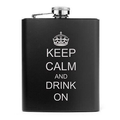 Matte Black 7oz Stainless Steel Hip Flask with Keep Calm and Drink On Matte Stainless Steel Flask