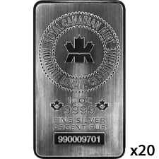 200 oz | 20 x 10 oz Silver Bar - Royal Canadian Mint - RCM - .9999 Ag