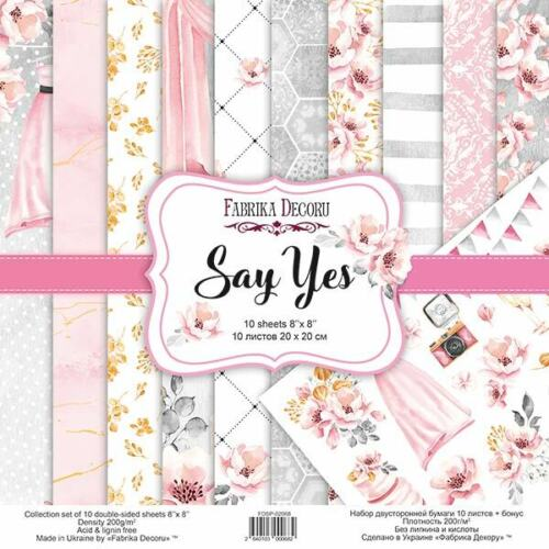 8%22+x+8%22+scrapbooking+paperpad+cardstock+Say+Yes+Wedding+10+designs+x+2+sheets