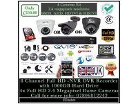 4 Camera Full HD 1080p CCTV KIT | QVIS FULL HD 2.4 Megapixel Cameras | 12 Months UK Warranty |
