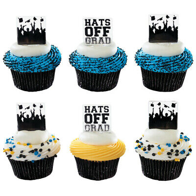 Cake Toppers New Graduation Hats Off Cupcake Picks One Dozen