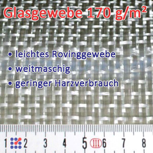 GLASFASERGEWEBE GLASGEWEBE ROVING FILAMENTGEWEBE F. POLYESTERHARZ EPOXIDHARZ GFK Glasgewebe 170 g/m²