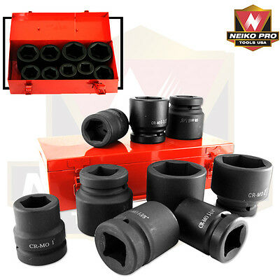 10 Pc 1 Inch Drive Air Impact Shallow Socket Set Sae With Carrier