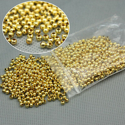 - 1000Pcs Gold Plated Round Ball Spacer Beads  3MM  DIY Jewelry Making Findings