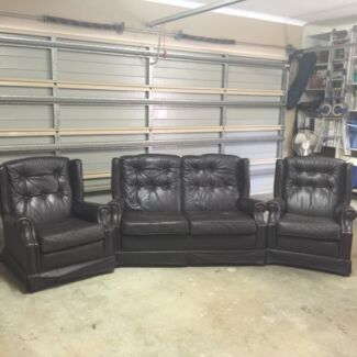 Leather lounge suite Craigburn Farm Mitcham Area Preview