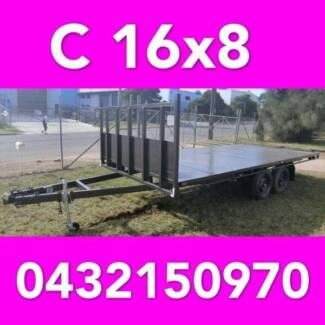 16x8 table top tandem trailer flatbed extra heavy duty 2000kg ATM