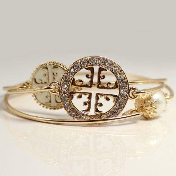 Faux Pearl Rhinestone Layered Bracelets