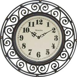 NEW WESTCLOX 32021 12 ROUND WROUGHT IRON QUARTZ WALL CLOCK 3953874