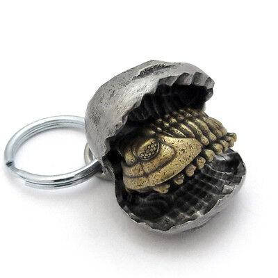 Trilobite Nodule Pewter Fossil Keychain - Paleontology Gift