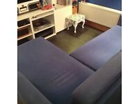 Blue Double sofa bed with chaise - excellent condition