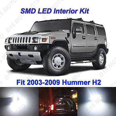 16x Ultra White LED Interior + License Plate Lights Kit for 2003-2009 Hummer H2