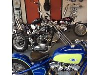 Selection of Bikes at Hurricane Harley Davidson BMW AJS Triumph Honda Custom Chopper Bobber